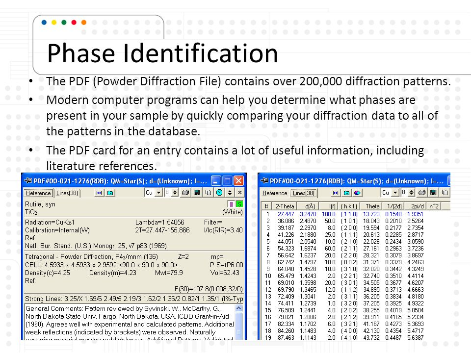 Phase Identification The PDF (Powder Diffraction File) contains over 200,000 diffraction patterns.