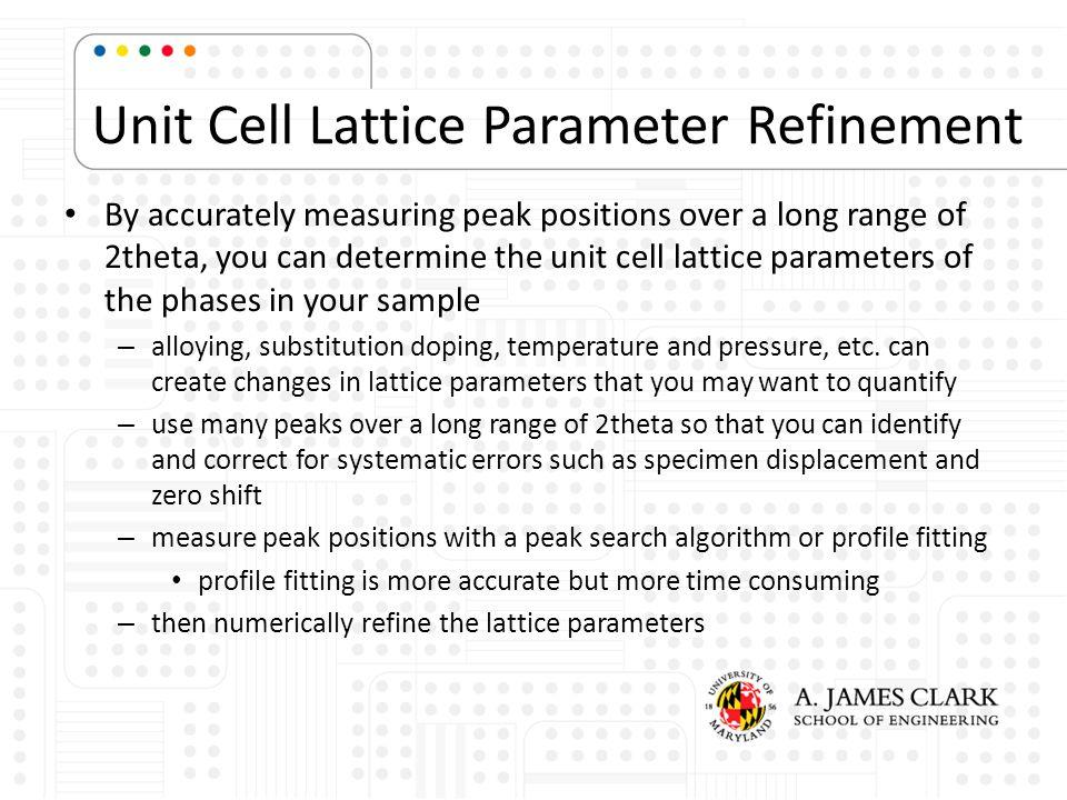 Unit Cell Lattice Parameter Refinement