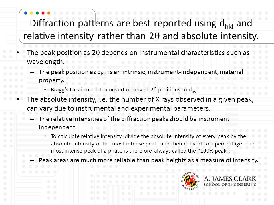 Diffraction patterns are best reported using dhkl and relative intensity rather than 2q and absolute intensity.