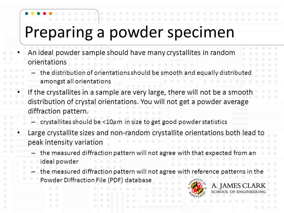 Preparing a powder specimen