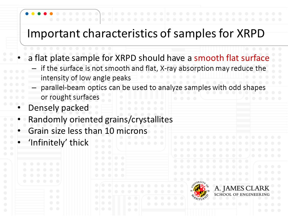 Important characteristics of samples for XRPD