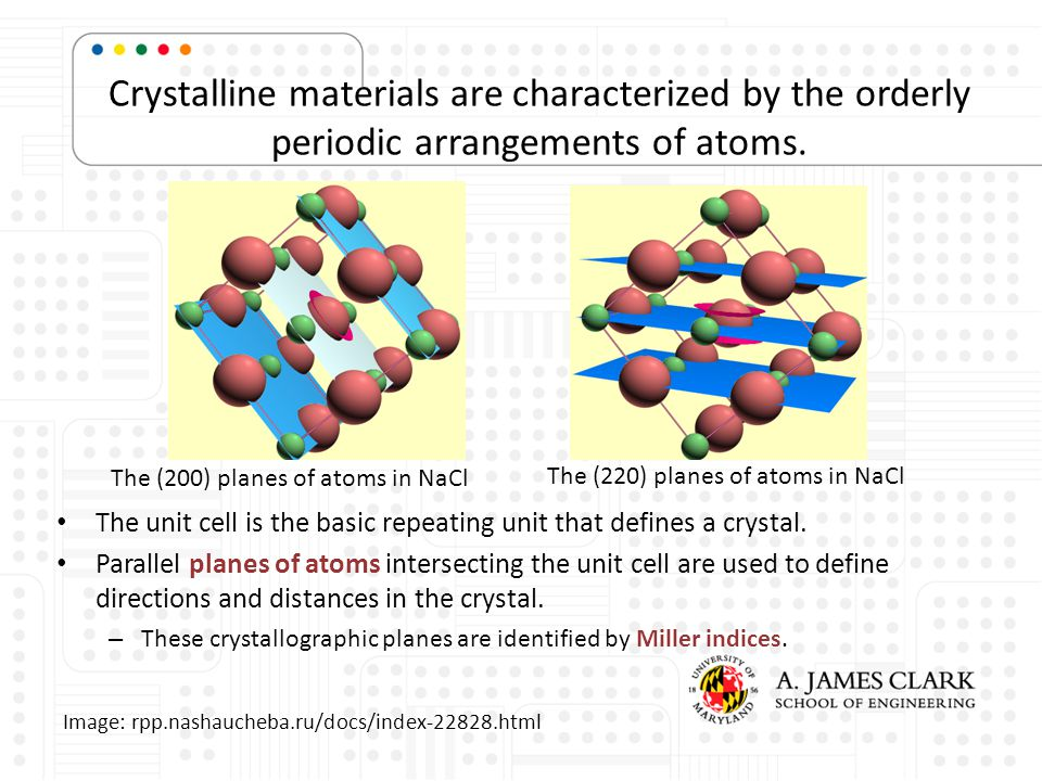 Crystalline materials are characterized by the orderly periodic arrangements of atoms.