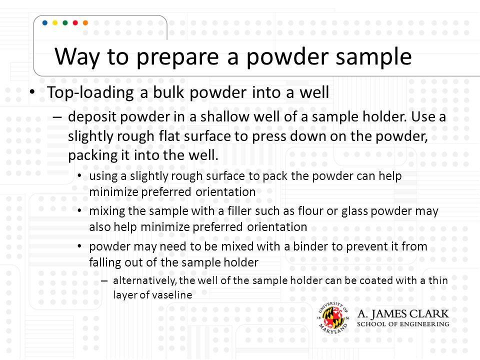 Way to prepare a powder sample