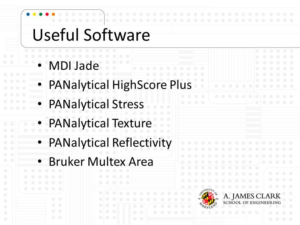 Useful Software MDI Jade PANalytical HighScore Plus PANalytical Stress