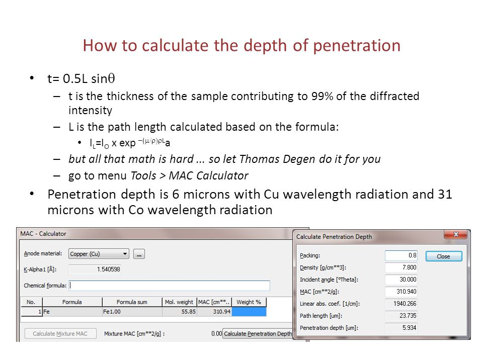 How to calculate the depth of penetration