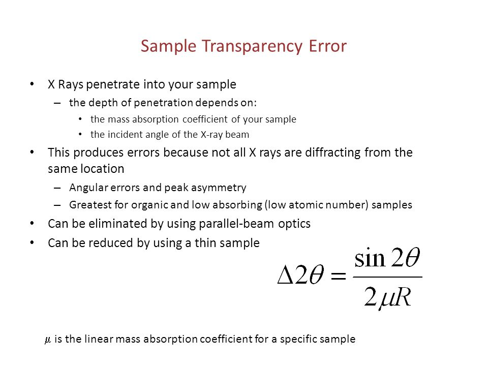Sample Transparency Error