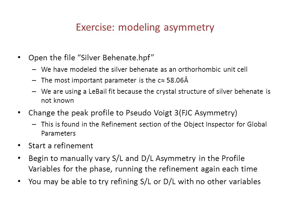 Exercise: modeling asymmetry