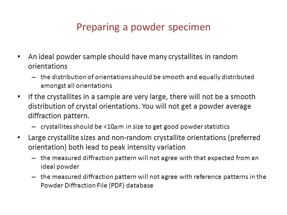 Preparing a powder specimen