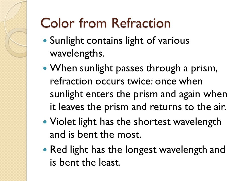 Color from Refraction Sunlight contains light of various wavelengths.
