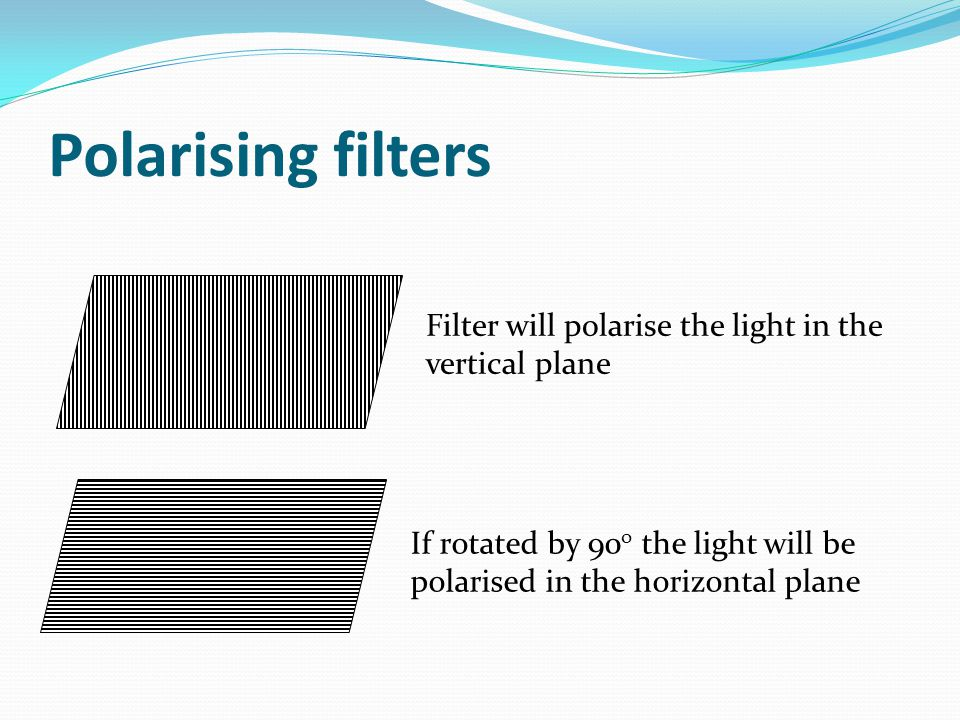 Polarising filters Filter will polarise the light in the vertical plane.