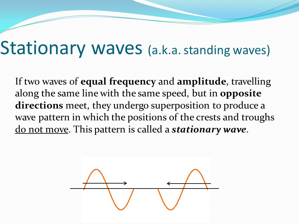 Stationary waves (a.k.a. standing waves)