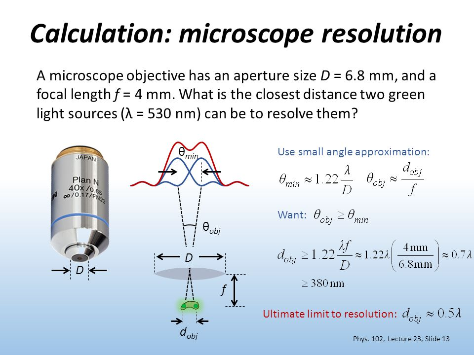 Calculation: microscope resolution
