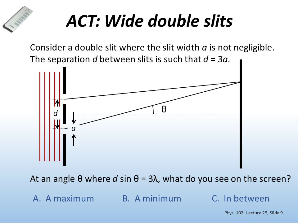 ACT: Wide double slits Consider a double slit where the slit width a is not negligible. The separation d between slits is such that d = 3a.