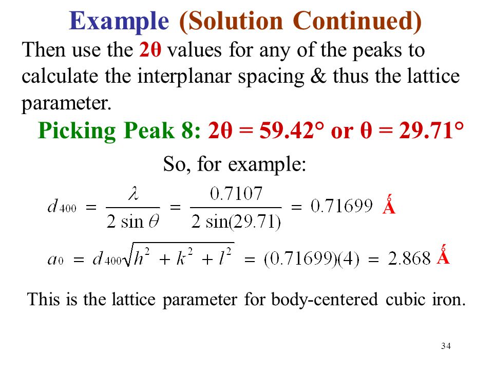 Example (Solution Continued) Picking Peak 8: 2θ = 59.42° or θ = 29.71°