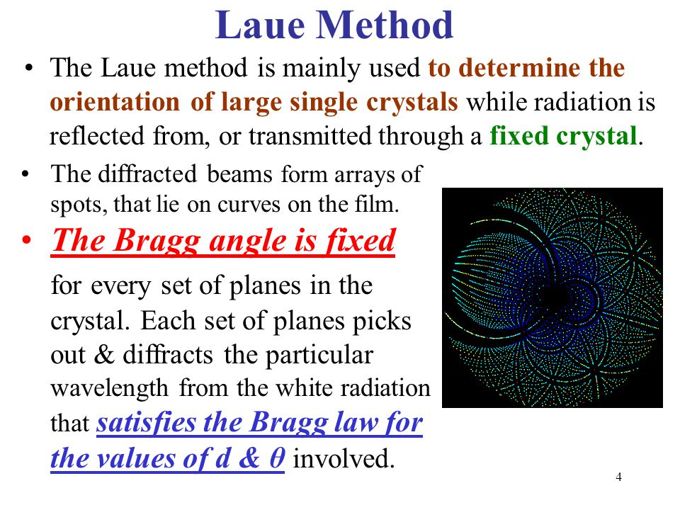 Laue Method The Bragg angle is fixed