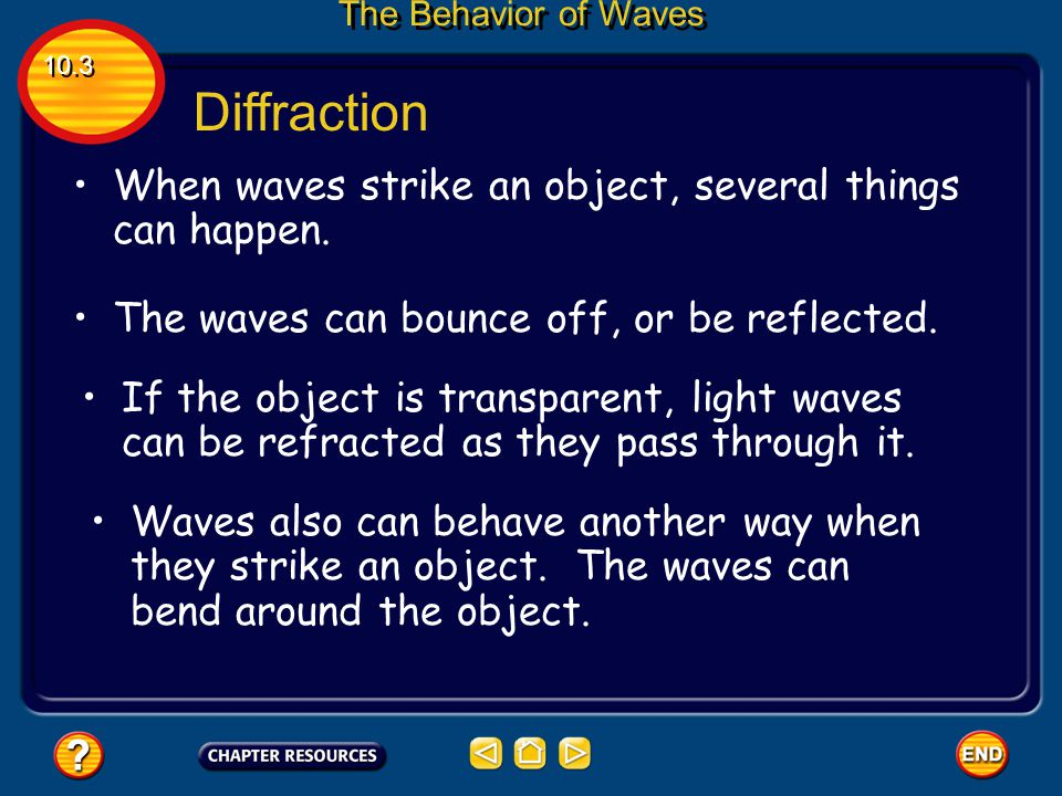 Diffraction When waves strike an object, several things can happen.