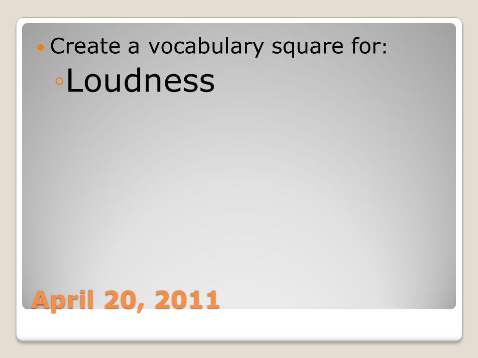 Create a vocabulary square for: