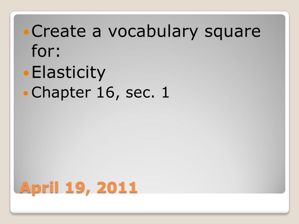 Create a vocabulary square for: Elasticity