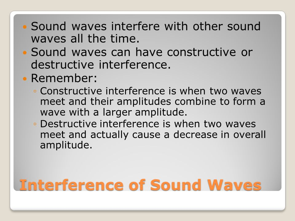 Interference of Sound Waves