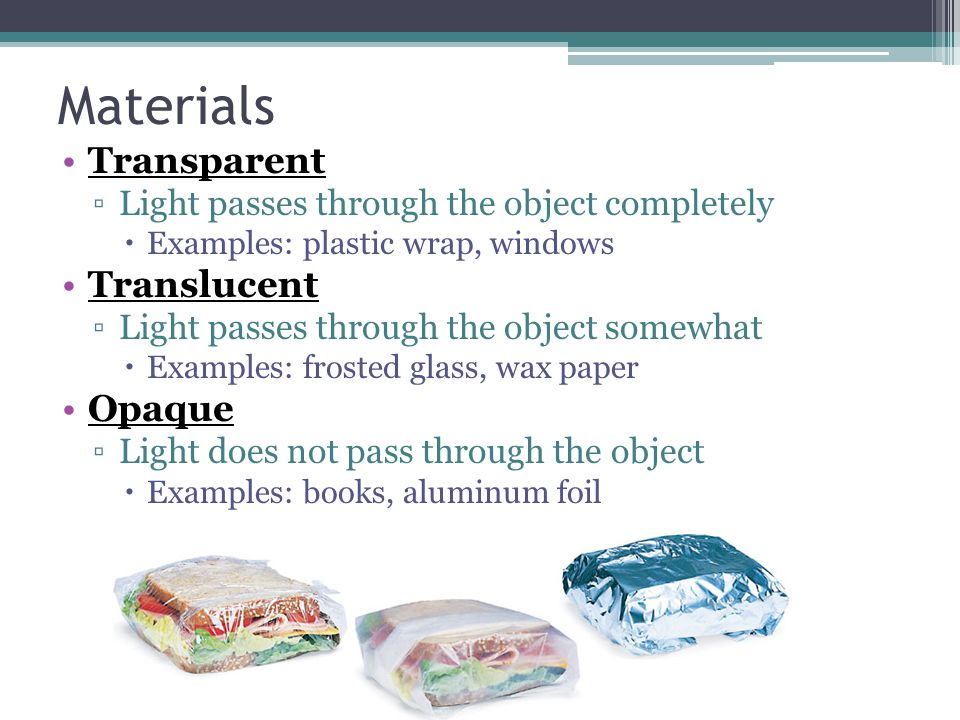 Materials Transparent Translucent Opaque