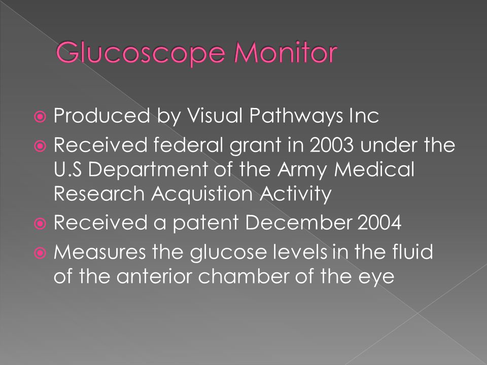 Glucoscope Monitor Produced by Visual Pathways Inc