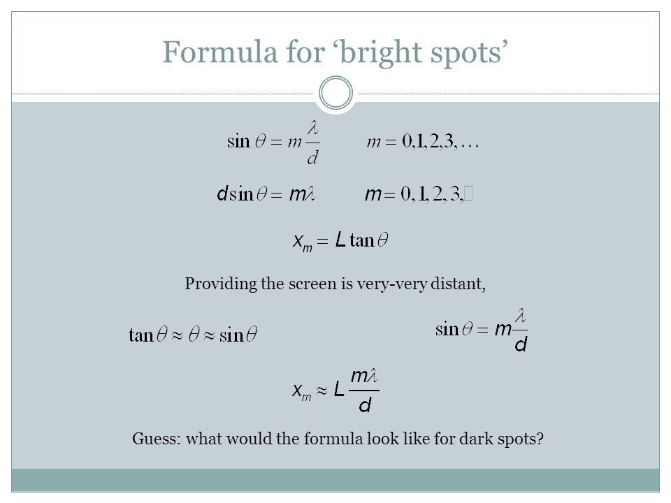 Formula for 'bright spots'