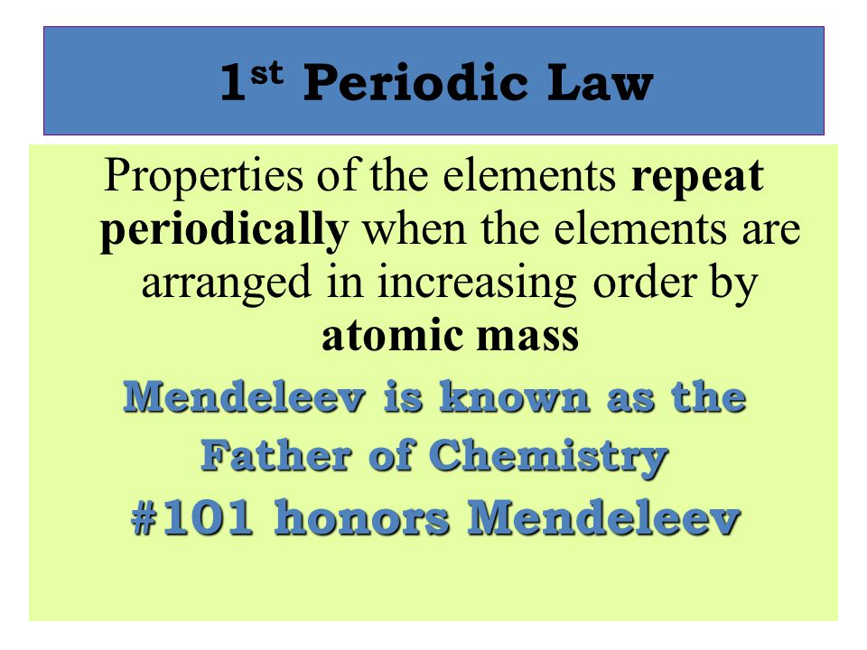 Mendeleev is known as the