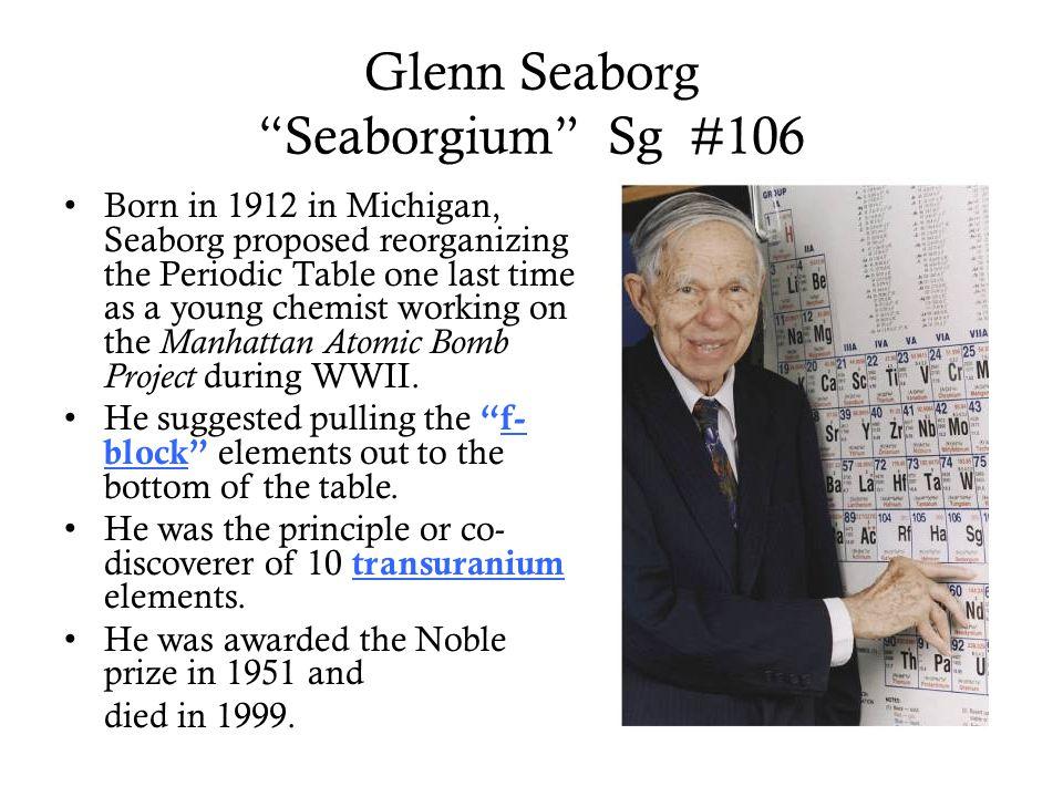 Glenn Seaborg Seaborgium Sg #106