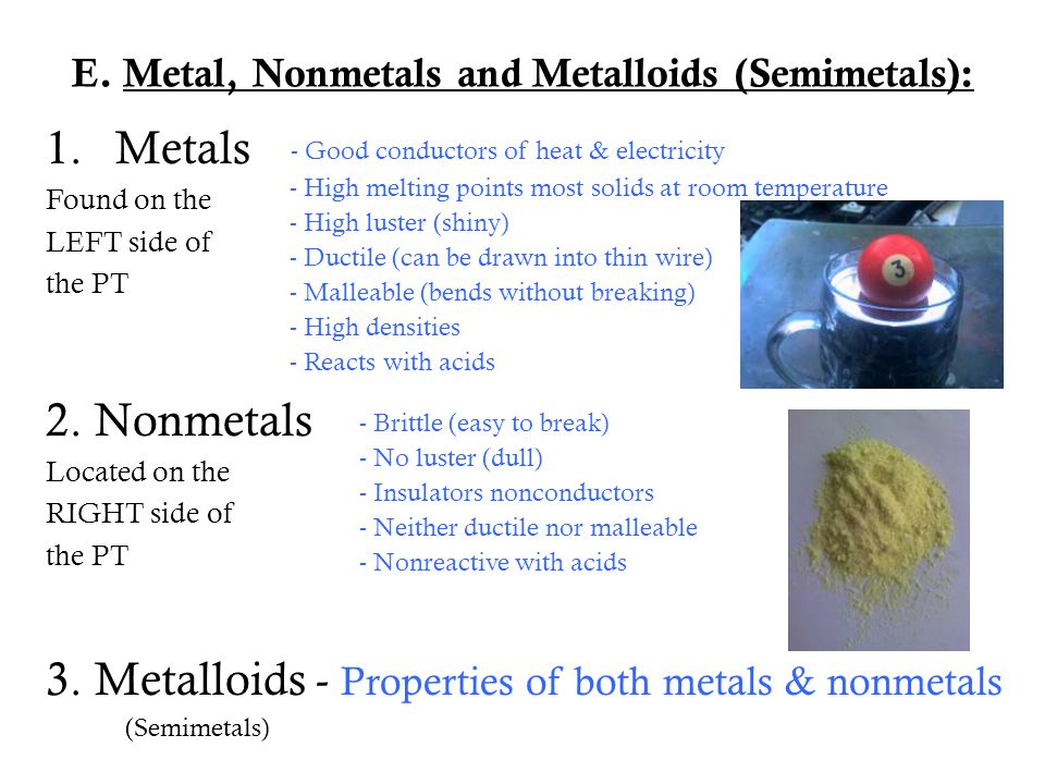 E. Metal, Nonmetals and Metalloids (Semimetals):