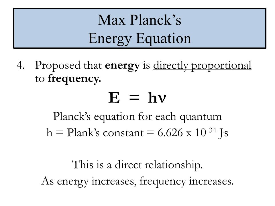 Max Planck's Energy Equation