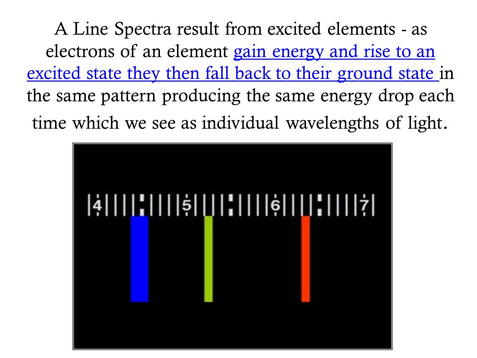 A Line Spectra result from excited elements - as electrons of an element gain energy and rise to an excited state they then fall back to their ground state in the same pattern producing the same energy drop each time which we see as individual wavelengths of light.