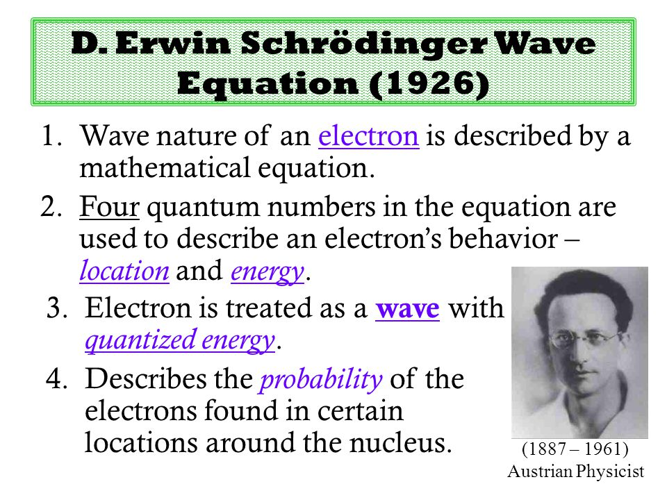 D. Erwin Schrödinger Wave Equation (1926)