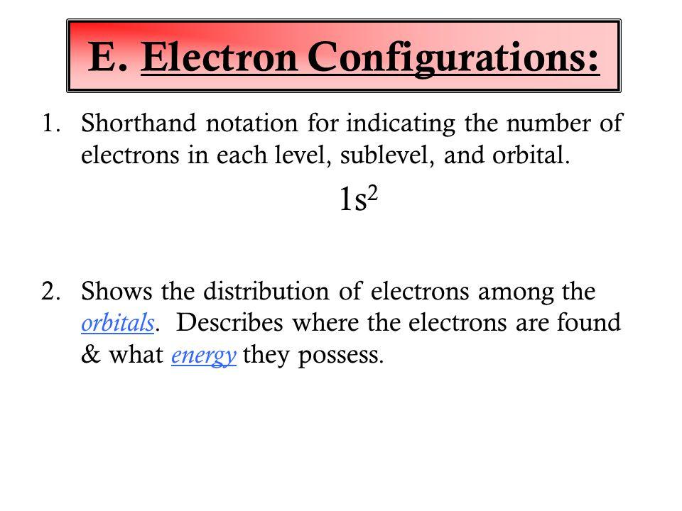 E. Electron Configurations: