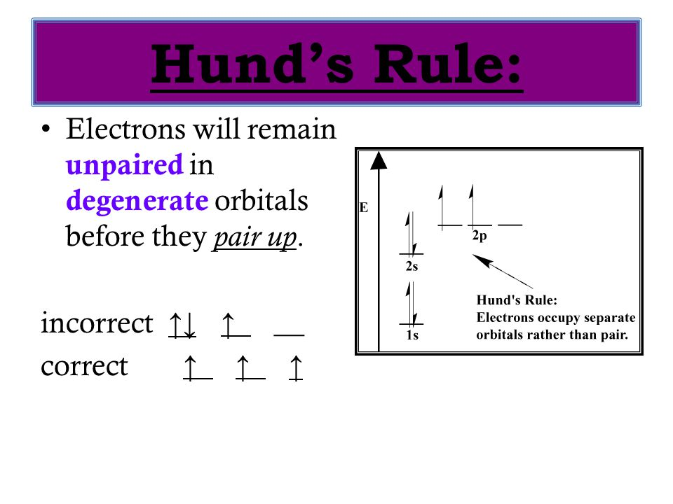 Hund's Rule: Electrons will remain unpaired in degenerate orbitals before they pair up. incorrect ↑↓ ↑ __.