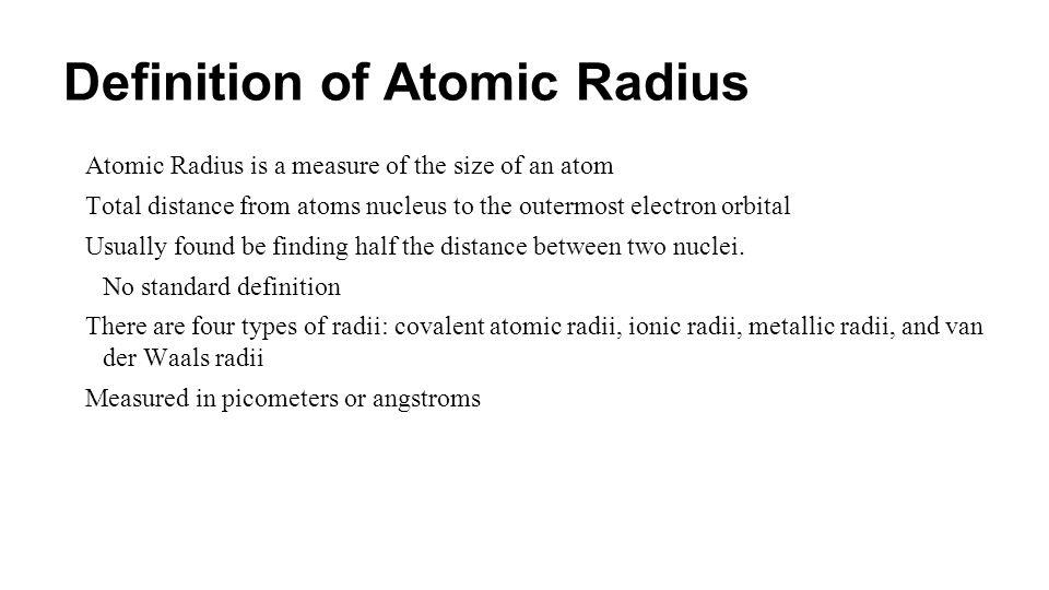 Definition of Atomic Radius
