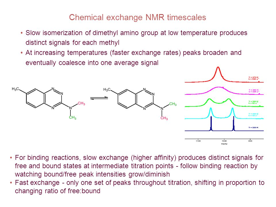 Chemical exchange NMR timescales