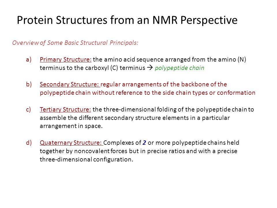 Protein Structures from an NMR Perspective