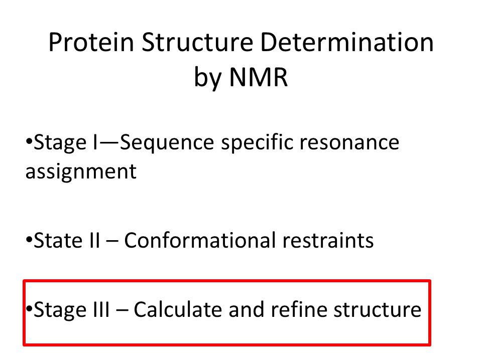 Protein Structure Determination by NMR