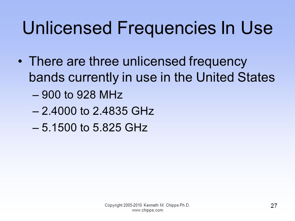 Unlicensed Frequencies In Use