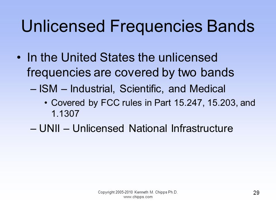 Unlicensed Frequencies Bands