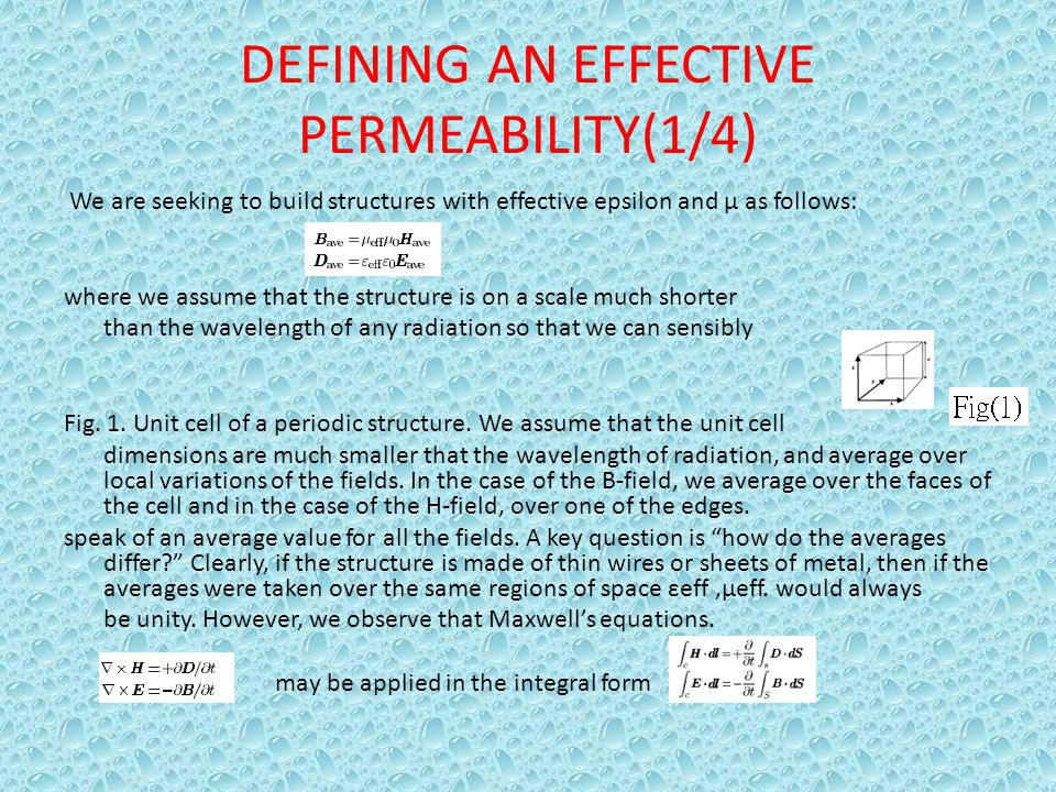 DEFINING AN EFFECTIVE PERMEABILITY(1/4)
