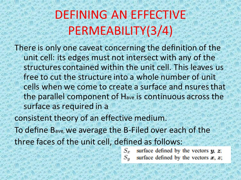 DEFINING AN EFFECTIVE PERMEABILITY(3/4)