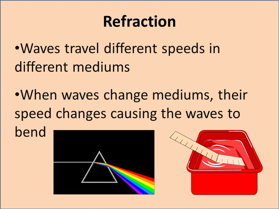 Refraction Waves travel different speeds in different mediums