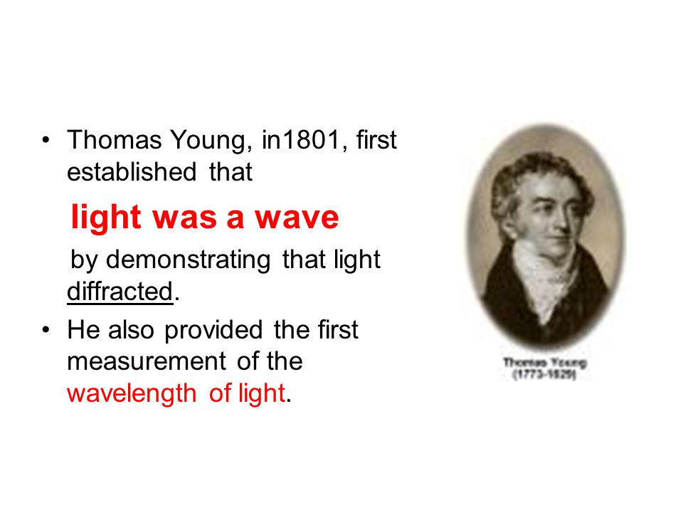 Thomas Young, in1801, first established that