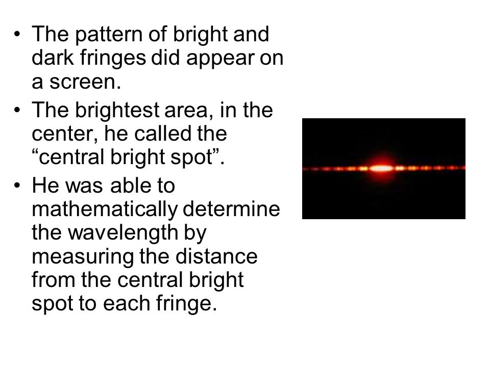 The pattern of bright and dark fringes did appear on a screen.