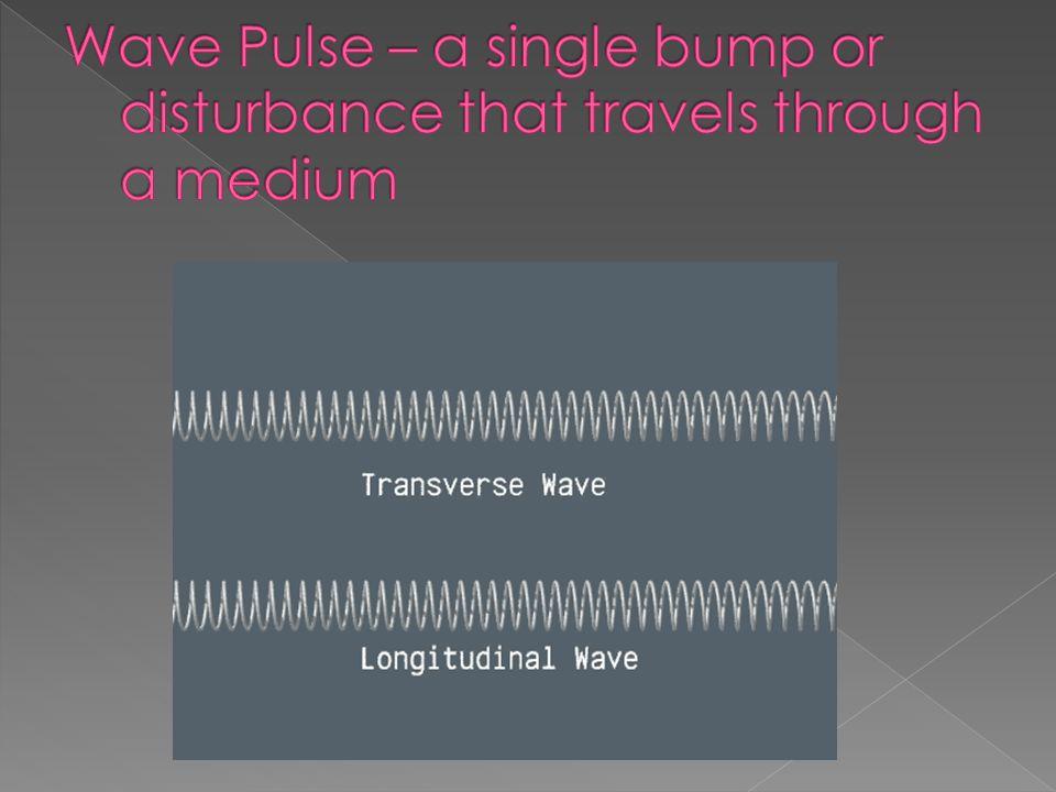 Wave Pulse – a single bump or disturbance that travels through a medium