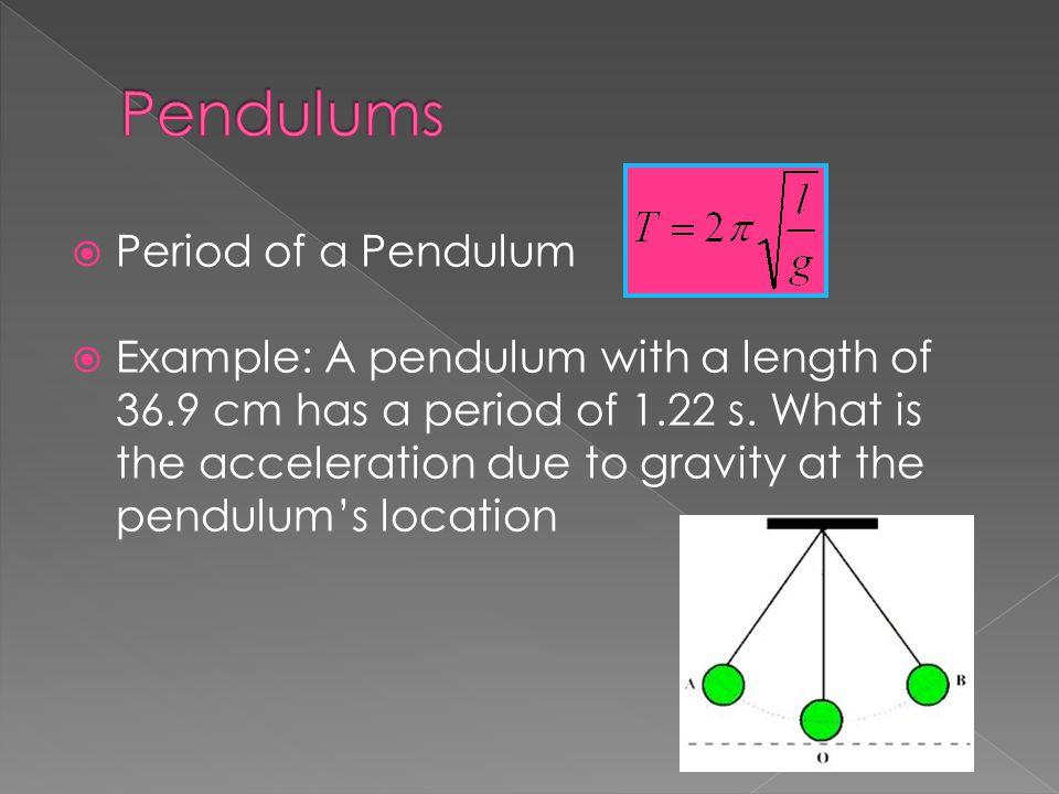 Pendulums Period of a Pendulum