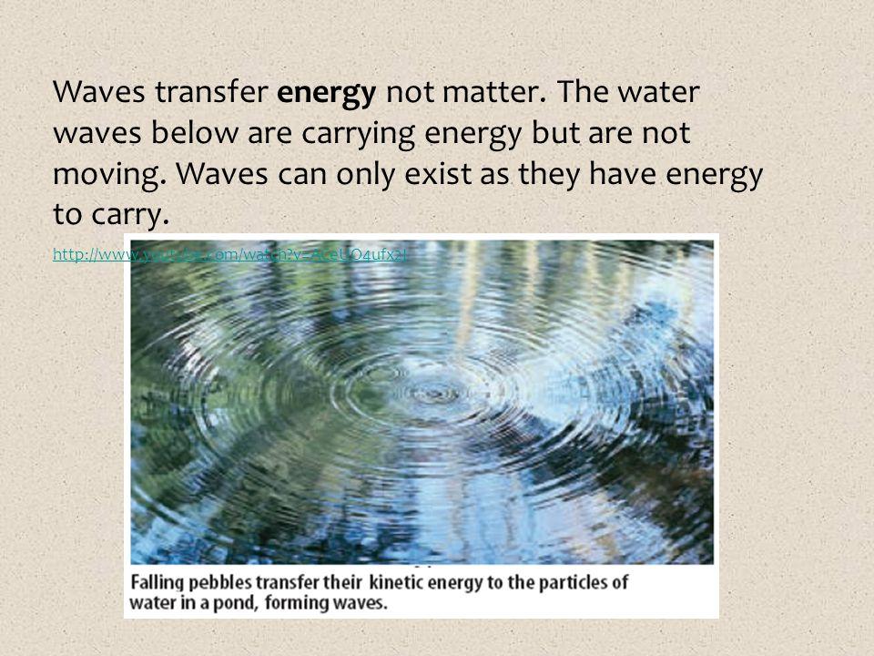 Waves transfer energy not matter