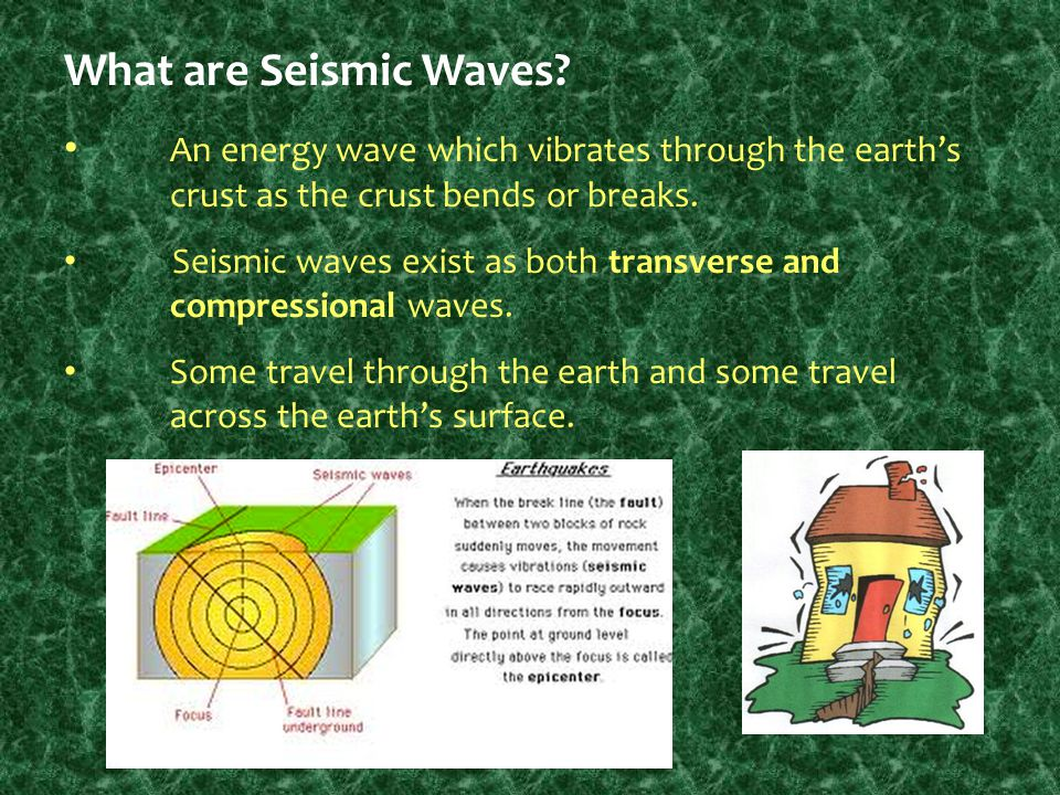 What are Seismic Waves An energy wave which vibrates through the earth's crust as the crust bends or breaks.