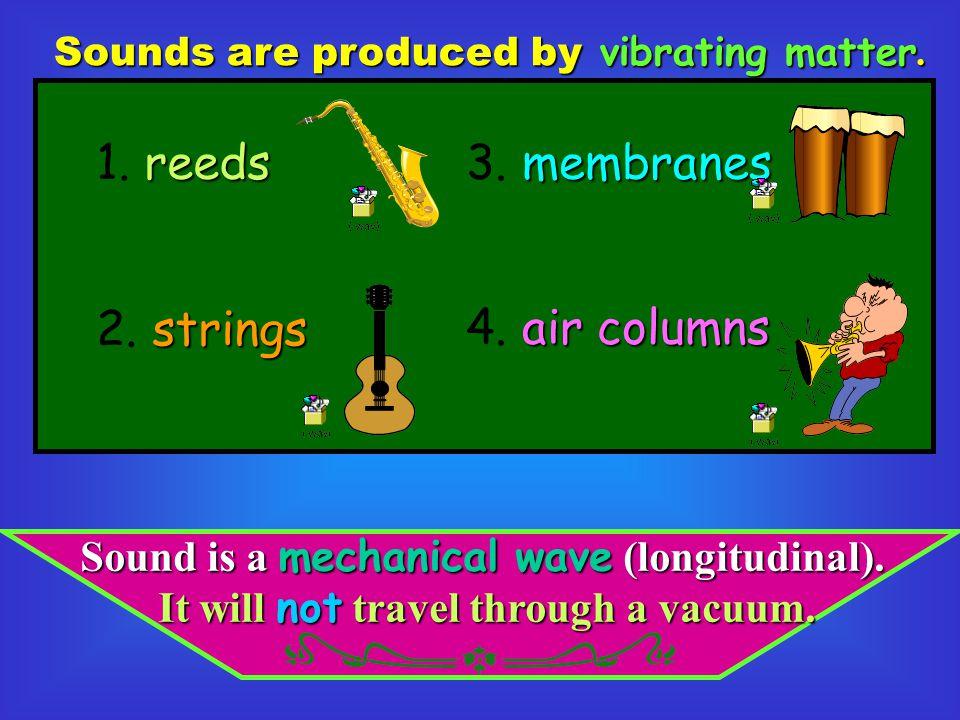 1. reeds 3. membranes 2. strings 4. air columns